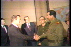 Saddam & Rumsfeld handshake in 1983